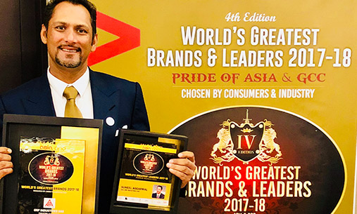 Mr. Suneel Aggarwal awarded World's Greatest Brands & Leaders - Asia-GCC for 2018